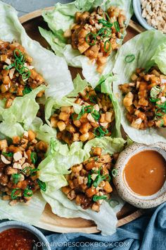 Try out this vegan meal that takes crunchy, crispy bite-sized pieces of fried tofu wrapped in lettuce with plenty of other textural elements that have all the flavor without any meat! {Vegan, Gluten-Free Adaptable} Healthy Asian Recipes, Indian Food Recipes, Vegetarian Recipes, Ethnic Recipes, Asian Foods, Tofu Recipes, Chinese Recipes, Drink Recipes, Recipes