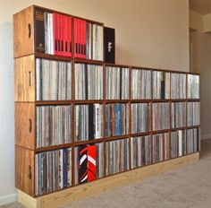 Record crates made to stack and stack