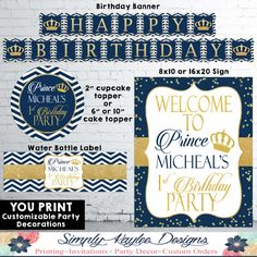 Little Prince Birthday Party Decorations Pack Prince Birthday Party, Birthday Parties, 1st Birthday Chalkboard, Welcome To The Party, Happy Birthday Banners, Party Cakes, Birthday Party Decorations, Cupcake Toppers, Invitations