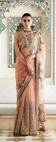 Sabyasachi 2017 Collection The Udaipur Story #sabyasachi#couture2017#theudaipurstory#saree#heritageweddings#peach