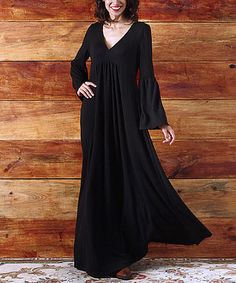 Another great find on #zulily! Black V Neck Bell Sleeve Maxi Dress #zulilyfinds