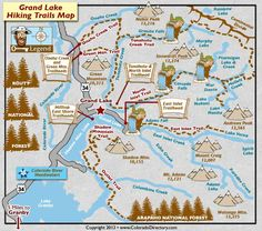 Grand Lake Hiking Trails Map, CO Just 30 minutes from the Ranch! Denver Colorado, Colorado Springs, Granby Colorado, Grand Lake Colorado, Colorado Hiking, Hiking Trail Maps, Hiking Trails, Hiking Places, Nevada