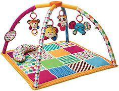 Infantino Safari Fun Twist & Fold Activity Gym & Play Mat. Our portable activity gym is loaded with great features including a tummy time bolster, peek n' see mirror, brightly colored play mat and four plush pals that rattle, crinkle and jingle.<br>Features:<br>1) Overhead Discovery<br>2) Tummy TIme<br>3) Sit & Play<br>*Large mirror can be positioned anywhere on the gym<br>*4 removable, contrast toys encourages reaching & batting<br>*Soft bolster helps prop baby up for tummy…