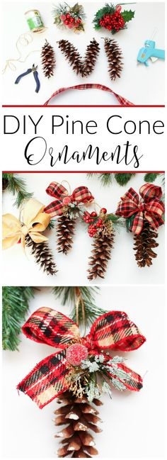 Turn regular pine cones into these fabulous DIY Pine Cone Ornaments with just a few supplies and add a rustic touch to your Christmas tree this season.
