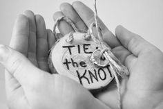 Tie the Knot, Will U Marry Me, I DO, Ring Bearer Rustic Slice Pillow Alternative, Wedding Ring Holder. $19.95, via Etsy.