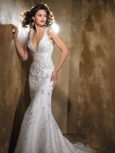 sexy vintage gowns | Sexy Vintage Wedding Dress with Deep V Neckline MBD3142 | PRLog