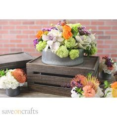 This galvanized zinc bowl is the perfect embellishment for a rustic event or decor. Tinged with rust, its worn exterior beautifully accents the flowers it holds- whether it bedding plants, fresh blooms, or succulents.