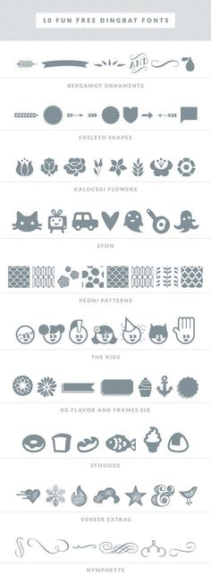 10 Fun Free Dingbat Fonts @ LittleWhiteWhale ~~ {10 free fonts w/ easy download links}