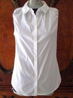 All Saints Spitalfields White Cotton Blend Blouse Top Ruched Size 12 | eBay