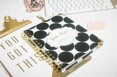 Amazon.com : 2017 Planner - Goal Digger - Gold Polka Dot Weekly/monthly 6 X 8 Planner - Success Agenda Jan-dec 2017 - Goals / Dreams / Plans (Black) : Office Products
