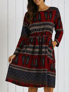 Printed Pocket Design Loose-Fitting Dress