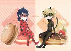 miraculous ladybug collab with @koyuegk !! we went for a french dessert theme ✧*+ LadyNoir