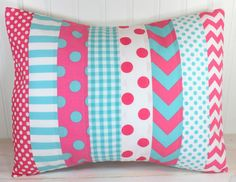 Throw Pillow Cover, Nursery Cushion Cover, Baby Girl Nursery Decor, Playroom Pillow Cover, 12 x 16 Inches, Bright Pink, Aqua Blue Chevron