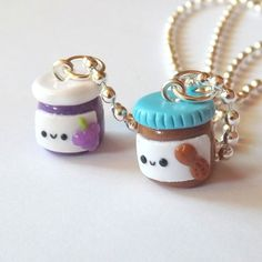 Peanut Butter and Grape Jelly Jar Best Friend Necklaces. Adorable necklace set to share with your friend. Made to order. ♥ Jar charms measure