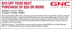 Pinned July 16th: $10 off $20 at GNC coupon via The Coupons App