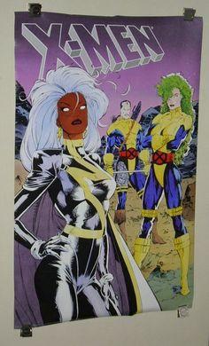 1990 X-Men poster: Rare vintage original 1990's Marvel Comics Jim Lee Uncanny X-Men Triptych comic art poster with Storm, Polaris, and Forge. SEE 1000's MORE RARE VINTAGE MARVEL AND DC COMICS SUPERHERO POSTERS AND COMIC BOOK ART PAGES FOR SALE AT SUPERVATOR.COM