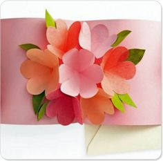 pop up card with paper flowers by MarthaStewart - could do a non-pop up version inside shadowbox?