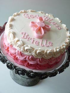 Baptismal cake #mimissweetcakesnbakes #pinkombre #baptismalcake