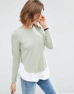 ASOS Sweater with Woven Ruffle Hem