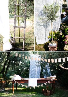 Anniversary Party - to decorate shelter house (green/yellow table cloths?)