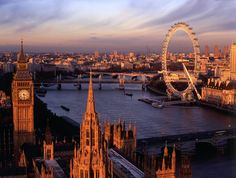 London, Big Ben and The London Eye. I