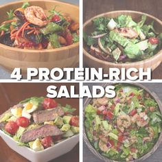 Healthy eating · cooking recipes · 4 protein-rich salads protein rich recipes, protein for salads, salad recipes healthy Healthy Dinner Recipes, Healthy Snacks, Healthy Eating, Cooking Recipes, Vegan Meals, Diet Recipes, Easy Cooking, Protein Rich Recipes, Protein Foods