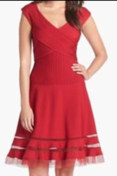 Tadashi Shoji Cap Sleeve Red Mesh Inset Cocktail Dress Size 10 Fit & Flare #TadashiShoji #Fitandflare #Cocktail