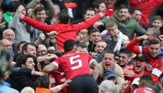United celebrate at Wembley