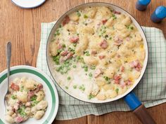Recipe of the Day: All-in-One Gnocchi Casserole from #FNMag         Thanks to store-bought gnocchi, this dinner comes together in a hurry. It features chopped ham and bright green peas, which makes it a complete meal in a pan.            #RecipeOfTheDay