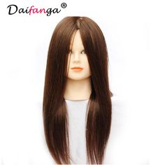Head Mannequin With Free Clamp 100% Real Human Natural Color Straight Long Hair Hairdressing Cutting Training Head