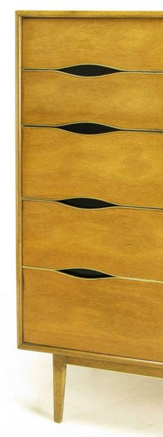 Saverio Vignola; Bleached Walnut & Brass Tall Dresser, 1950s. I'm still trying to figure out that pull... But I know this... I fucking love it.
