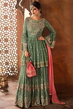 Green Georgette Sharara Salwar Suit With Dupatta Shop on ,Designer Indian Dresses,gowns,lehenga and sarees , Buy Online in USD Pakistani Sharara, Long Choli Lehenga, Sharara Suit, Pakistani Dresses, Shadi Dresses, Gharara Designs, Choli Designs, Indian Wedding Outfits, Indian Outfits