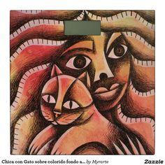 Chica con Gato sobre colorido fondo abstracto Bathroom Scale. Producto disponible en tienda Zazzle. Decoración para el hogar. Product available in Zazzle store. Home decoration. Regalos, Gifts. #báscula #scale #gato #cat #kitten