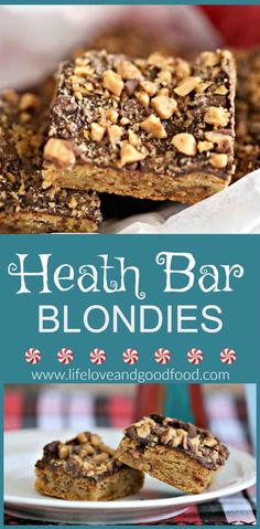 Bar Blondies Heath Bar Blondies - Try this easy recipe for a chocolate-topped sweet dessert bar that's studded with Heath bar toffee bits inside and out!Heath Bar Blondies - Try this easy recipe for a chocolate-topped sweet dessert bar that's studded with Heath Bar Dessert, Heath Bar Cookies, Dessert Bars, Cookie Bars, Dessert Tables, Chocolate Chip Shortbread Cookies, Toffee Cookies, Yummy Cookies, Toffee Bars