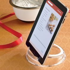 would be so handy .The Container Store > Tablet & eReader Stand Ipad Stand, Tablet Stand, How To Read A Recipe, Container Store, Container Cabin, Cargo Container, Container Design, Container Homes, Finance