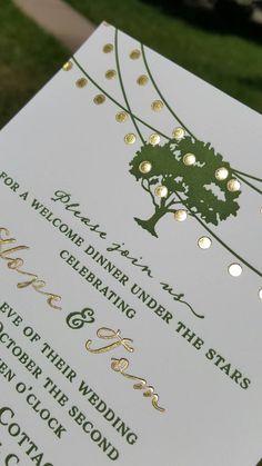 Letterpress Wedding Invitations Green Gold by DancingPenandPress