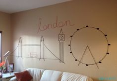 london landmarks using just yarn, tape, and paper!