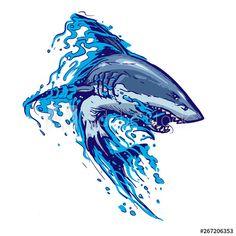 aggressive shark jump attack illustration - Buy this stock vector and explore similar vectors at Adobe Stock Shark Illustration, Illustration Vector, Vector Art, Fish Drawings, Cartoon Drawings, Animal Sketches, Animal Drawings, Shark Tooth Tattoo, Hai Tattoos