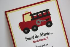 Fire Truck Birthday Invitation by 5M Creations