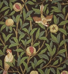 Bird And Pomegranate Wallpaper A charcoal wallpaper featuring birds nestling in fruit bearing pomegranate trees.