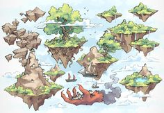 The Windy Realms, a FREE world map for D&D / Dungeons & Dragons, Pathfinder, Warhammer and other table top RPGs. Tags: floating islands, region map, sky, world, world map