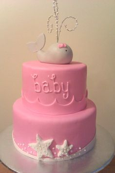 whale baby girl baby shower cake/ take off baby and could be a cute birthday cake too