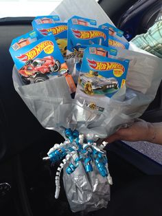 Need a gift idea for boys? Try a hot wheels bouquet!