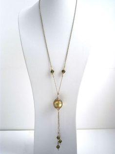 Boho romantic long necklace light khaki handmade by kalaniparis