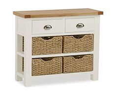 Roseland Furniture Daymer Painted Console Table with Baskets - Hall Table - Cream Painted Large Bookcase, Large Sideboard, Cream Console Table, Large Chest Of Drawers, Hallway Furniture, Bedroom Furniture, Large Coffee Tables