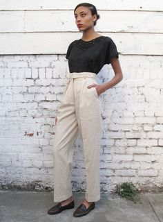Vintage Flight Pants 1980's Oatmeal Linen Tapered High Waisted Trousers S