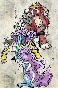 The Legendary Dog Trio: Suicune + Entei + Raikou. Entei Pokemon, Pokemon Pins, Pokemon Images, Pokemon Fan Art, Pokemon Pictures, Pokemon Go, Pokemon Tattoo, Animes Wallpapers, Catch Em All