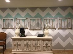 Chevron Wall Redo - Classy Clutter If only I had the patience for this. My New Room, My Room, Girl Room, Chevron Accent Walls, Grey Chevron, Wall Design, Design Design, Design Hotel, House Design