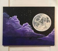 Painting Moonlit, Purple Acrylic Paintings, Moon Acrylic Painting, Purple…