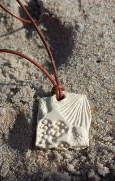 Porcelain Sea Life Pendant on an Adjustable Leather Necklace - Shells, Seaweed, and Coral Patterns and Textures
